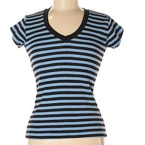 Moda International Striped V-Neck T-Shirt